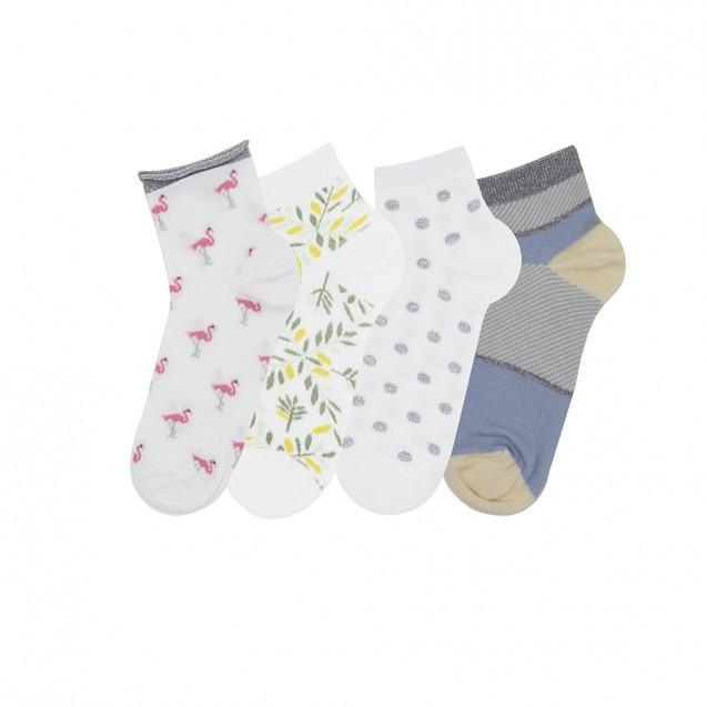 Набор женских носков из 4 пар белого цвета
