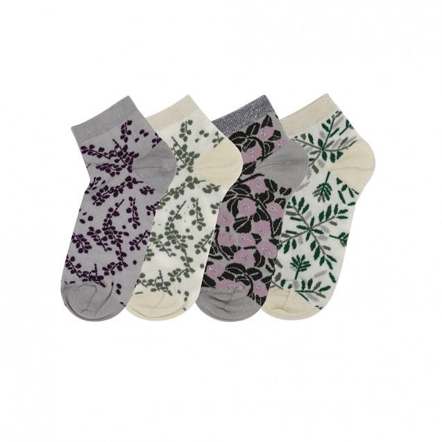 Набор женских носков из 4 пар в цветочек