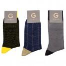 Набор носков из 3 пар в бизнес стиле. Разноцветный (желтый в крапинку, синий в крупный квадрат, серый в мелкую шахматку)