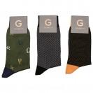 Набор носков из 3 пар в кэжуал стиле (зеленый с греческим алфавитом, серый в мелкий ромб, оранжевый в крапинку)