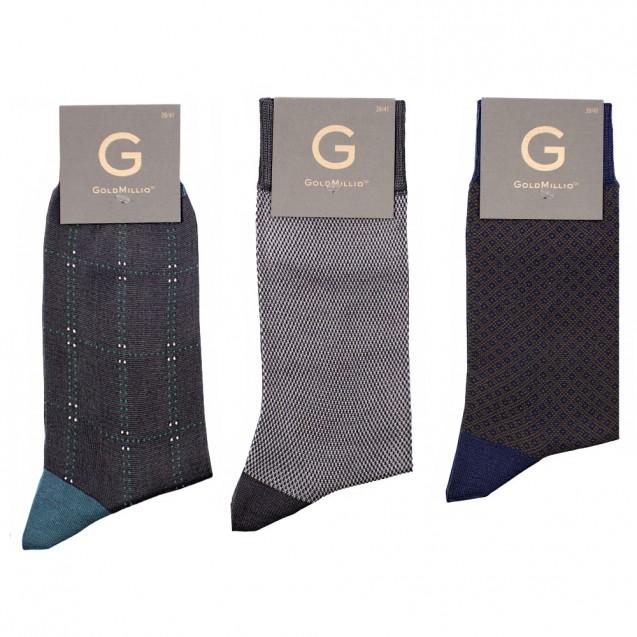 Набор носков из 3 пар в смарт-кэжуал стиле. Разноцветный (серый в большой квадрат, серый в мелкую шахматку, коричневый в мелкий ромб)