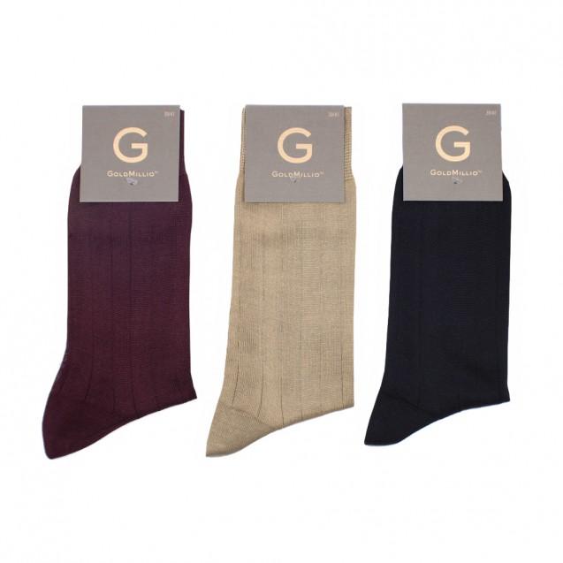 Набор носков из 3 пар в деловом стиле. Однотонный (бордовый, коричневый, синий)