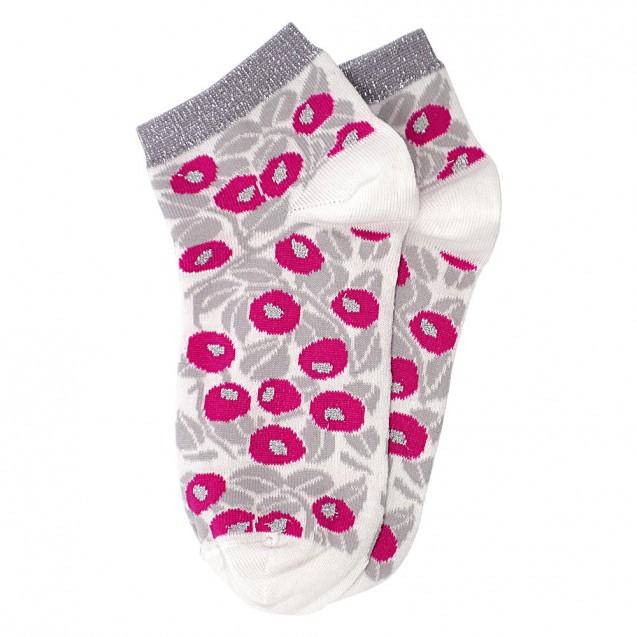 Женские носки белого цвета с розочками и люрексом