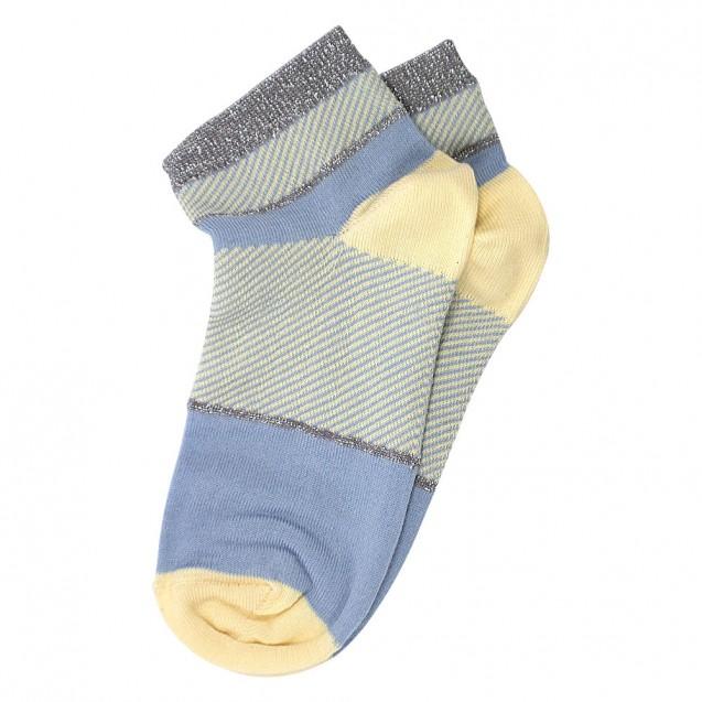 Женские носки голубого цвета с полосками из люрекса