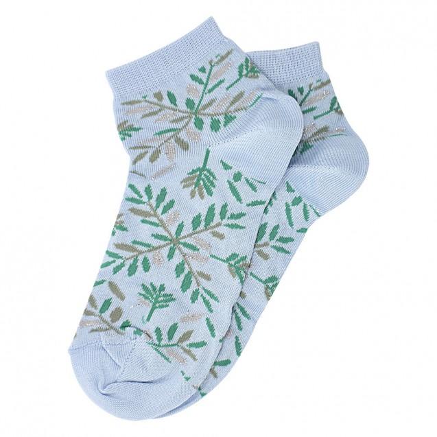 Женские носки голубого цвета с зелеными веточками и люрексом