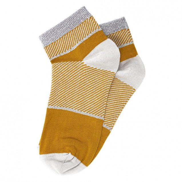 Женские носки оранжевого цвета с полосками из люрекса