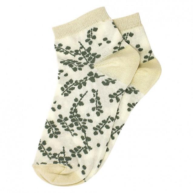 Женские розовые носки с зелеными веточками