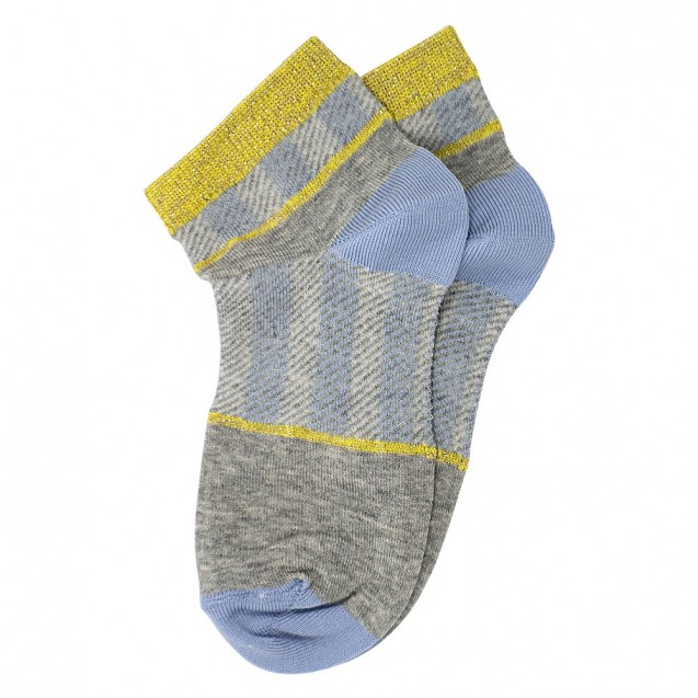 Женские носки серого цвета с полосками из люрекса