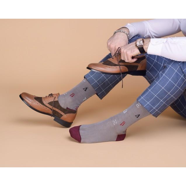 Мужские носки серые с греческим алфавитом