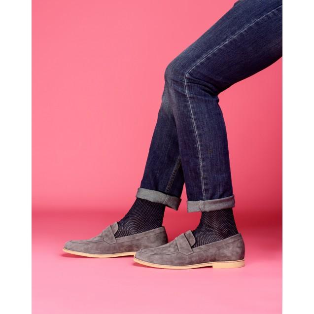 Мужские носки в горох с голубым носком и пяткой