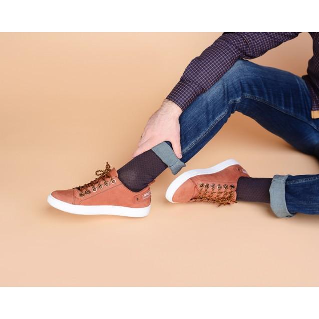 Мужские носки коричнегого цвета в мелкий ромб