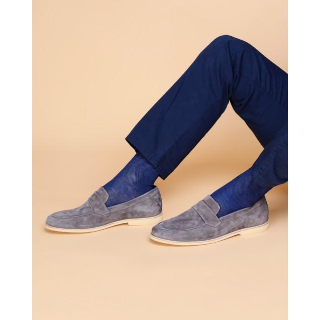 Мужские носки синего цвета в мелкую шахматку
