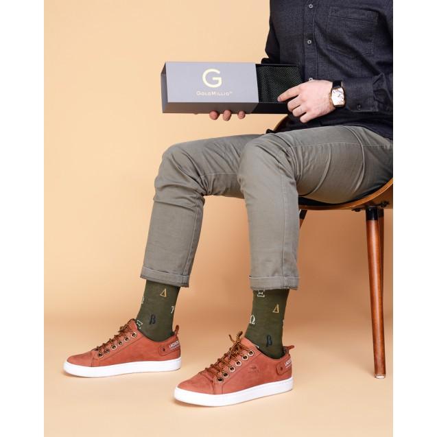 Мужские носки зеленые с греческим алфавитом