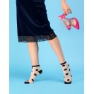 Женские капроновые носки в горох черно-белые