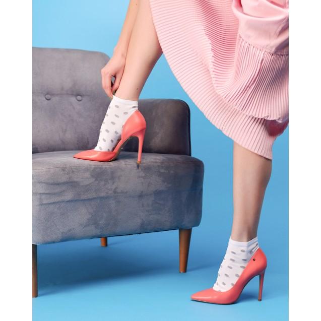 Женские носки белого цвета в крупный горох из люрекса