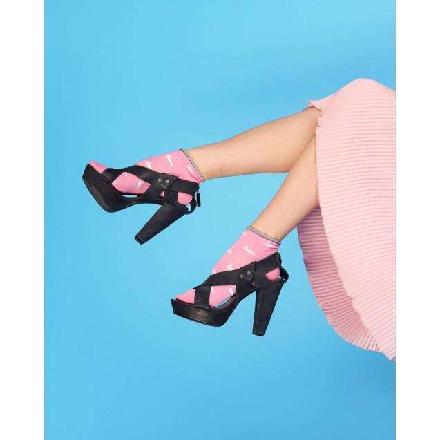 Женские розовые носки с фламинго и люрексом