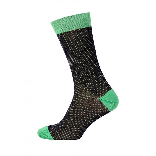Мужские носки в горох с зелеными вставками