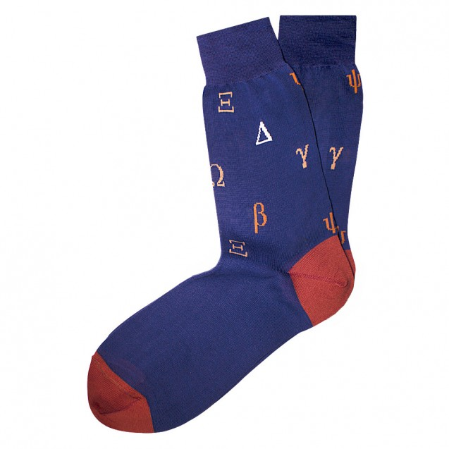 Мужские носки синие с греческим алфавитом