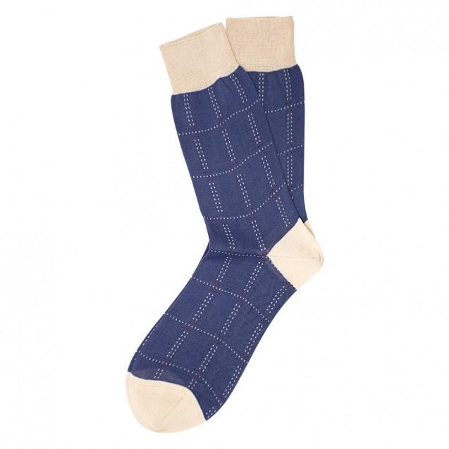 Мужские носки голубого цвета в крупный квадрат