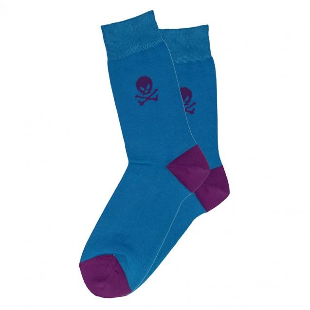 Мужские носки голубые с черепом