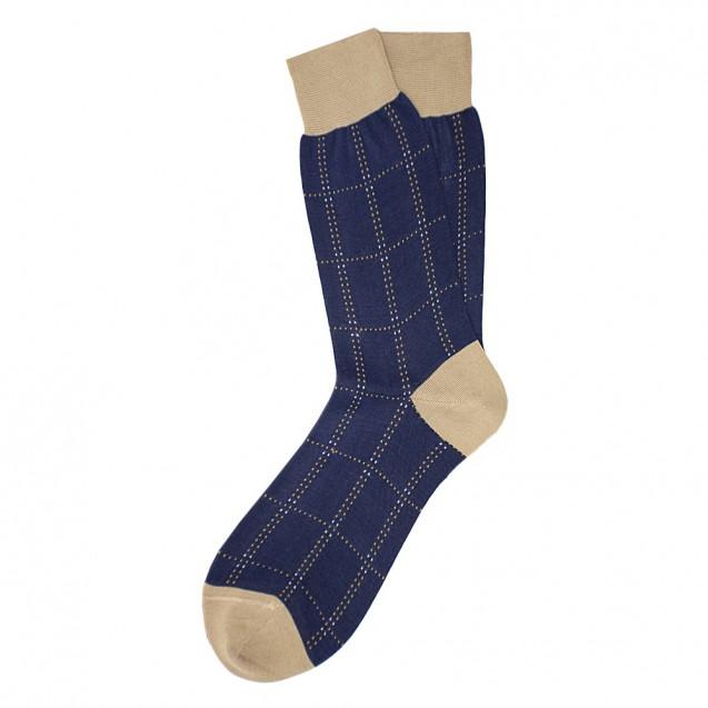 Мужские носки синего цвета в крупный квадрат
