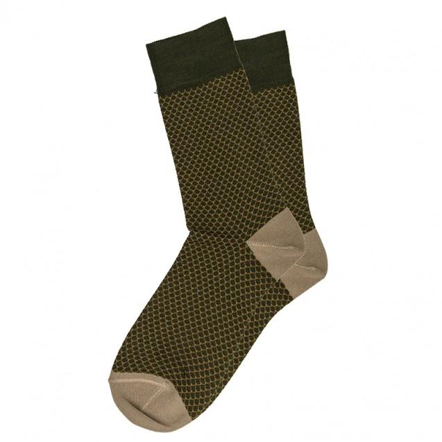 Мужские носки в фишскин зеленые