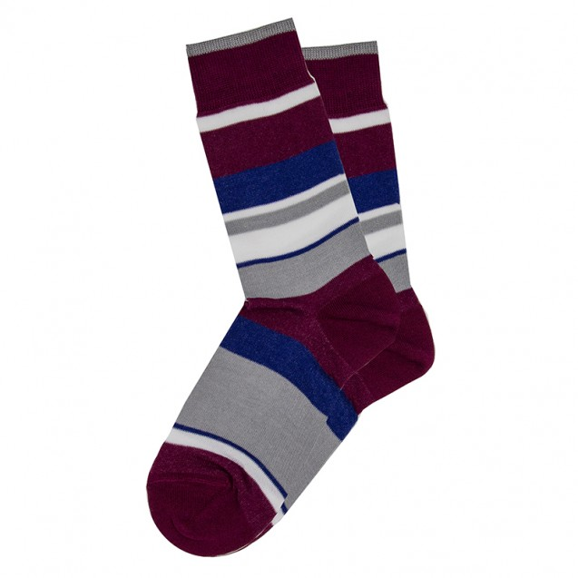 Мужские носки в крупную бордовую полоску