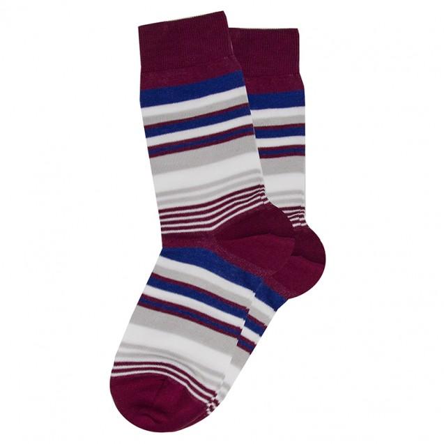 Мужские носки в мелкую бордовую полоску