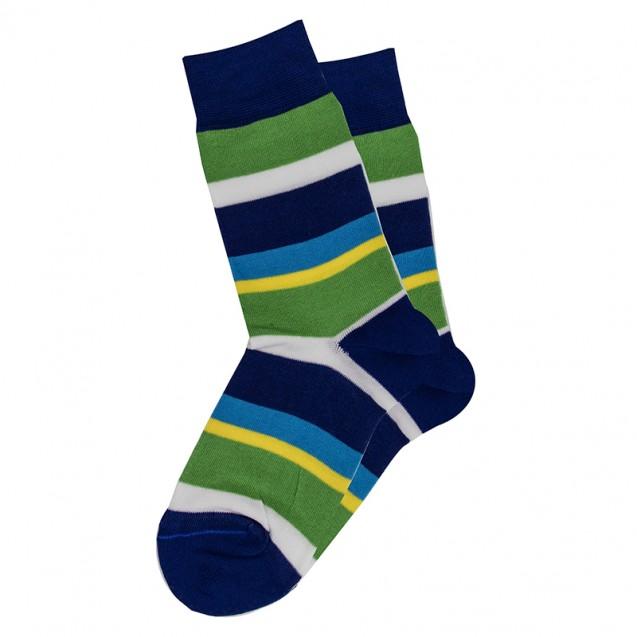 Мужские носки в сине-зеленою полоску