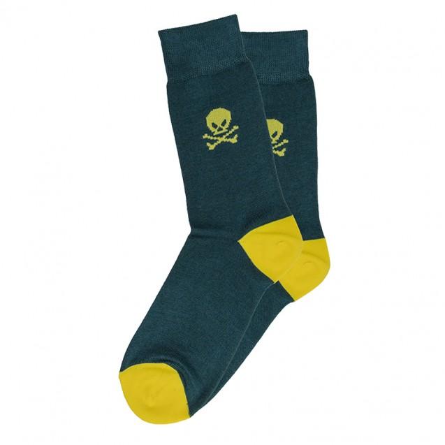 Мужские носки зеленые с желтым черепом