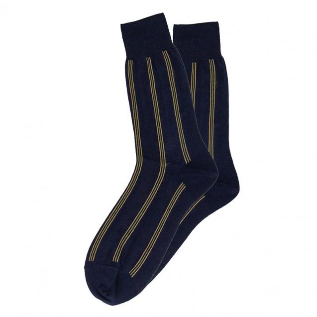 Мужские синие носки в вертикальную полоску