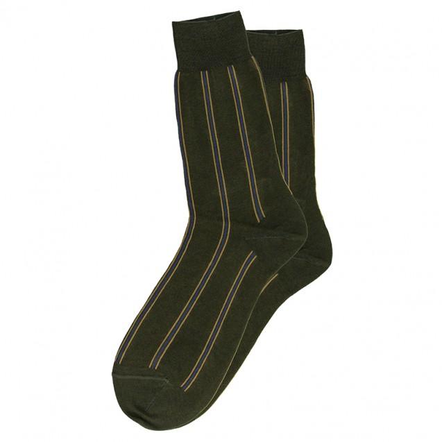 Мужские зеленые носки в вертикальную полоску